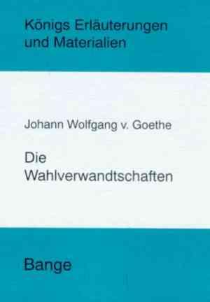 Book Elective Affinities (Die Wahlverwandtschaften) in German